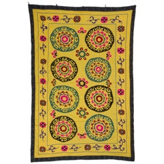Vintage Yellow Suzani Embroidery Wall Hanging or Bed Cover