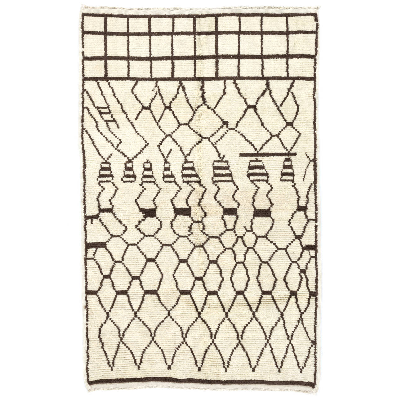 Moroccan Wool Rug in Ivory and Dark Brown