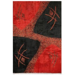 Rare Mid-Century Modern Turkish Rug in Black and Red
