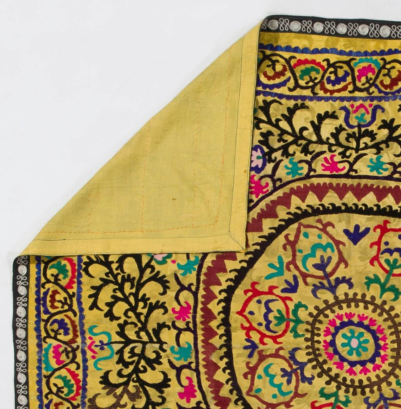 Vintage Yellow Uzbek Embroidered Wall-Hanging or Bed Cover For Sale ...