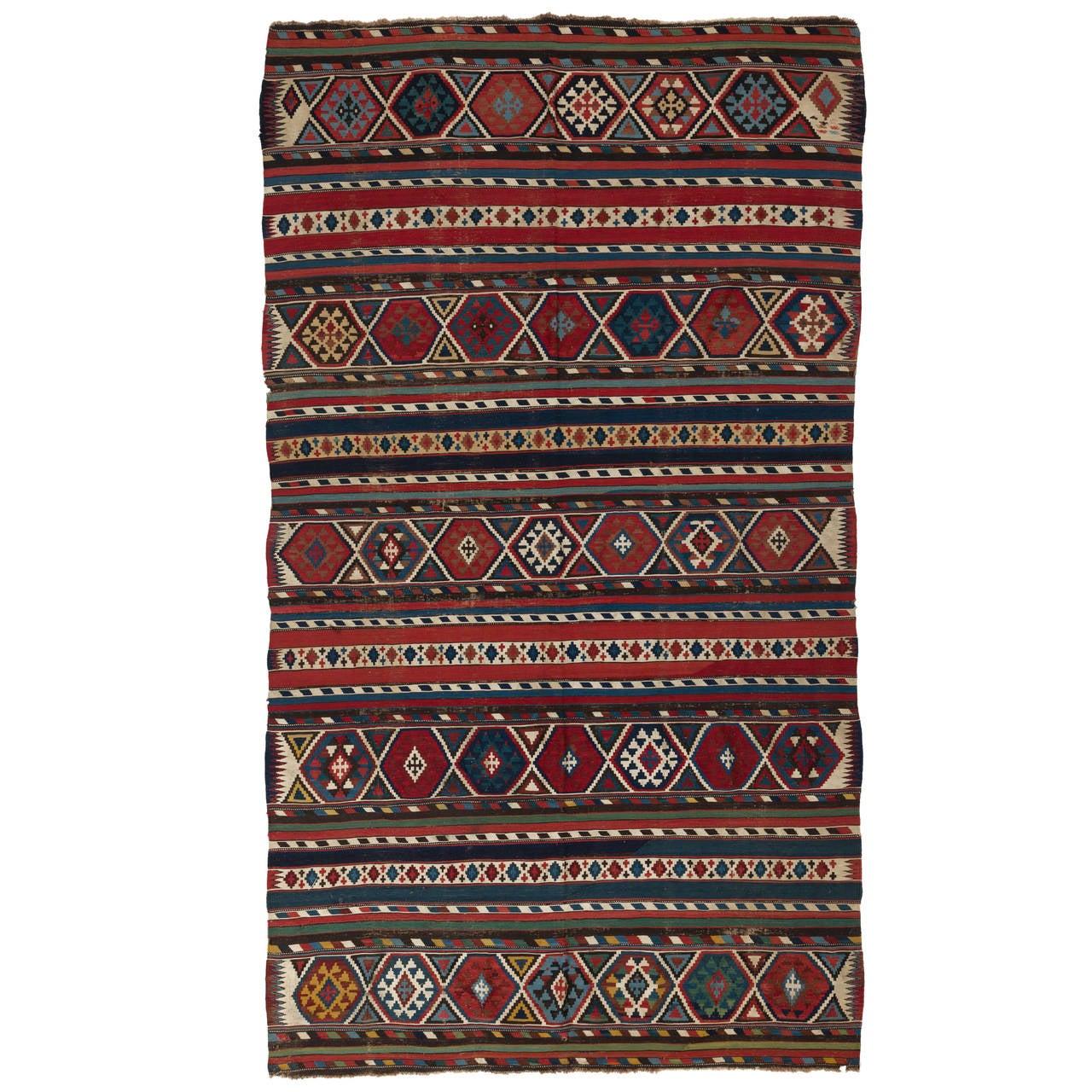 Caucasian Kilim Rug: Antique Caucasian Shirvan Kilim Rug, 19th Century At 1stdibs