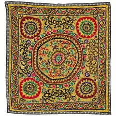Vintage Yellow Uzbek Embroidered Wall-Hanging or Bed Cover