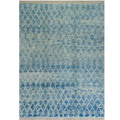 Contemporary Moroccan Wool Rug in Light Blue Color