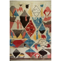 Colorful Contemporary Moroccan Wool Rug, Custom Options Available