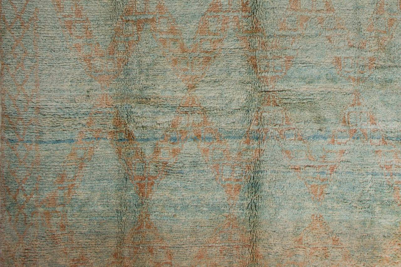 Moroccan Rug In Pastel Turquoise And Rust For Sale At 1stdibs