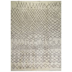 Contemporary Moroccan Rug Made of Natural Ivory and Gray Wool