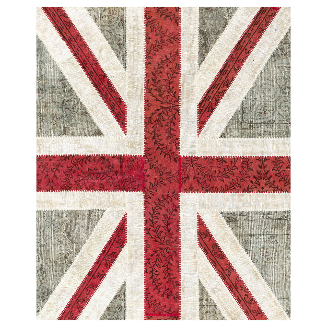 Union Jack Design Patchwork Rug Made From Distressed Vintage Carpets 1