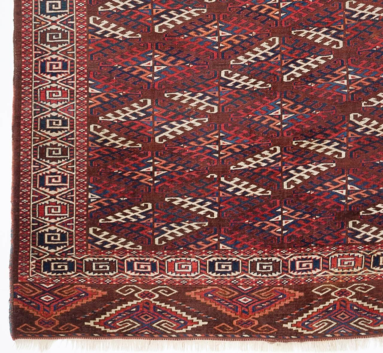 Antique Turkoman Rug: Antique Turkoman Yomut Main Carpet, 19th Century For Sale