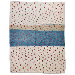 Contemporary Moroccan Rug in Blue, Red and Ivory