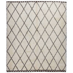 Moroccan Rug Made of Natural Cream and Brown Wool