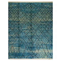 Contemporary Moroccan Wool Rug in Indigo Blue