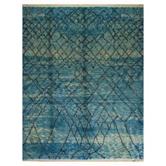 Contemporary Moroccan Wool Rug in Indigo Blue