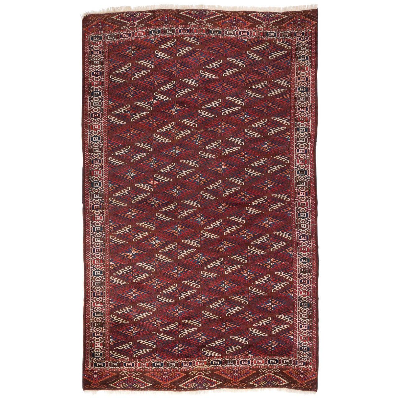 Antique Turkoman Yomut Main Carpet 19th Century For Sale