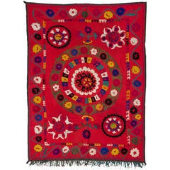 Vintage Uzbek Embroidered Wall-Hanging or Bed Cover