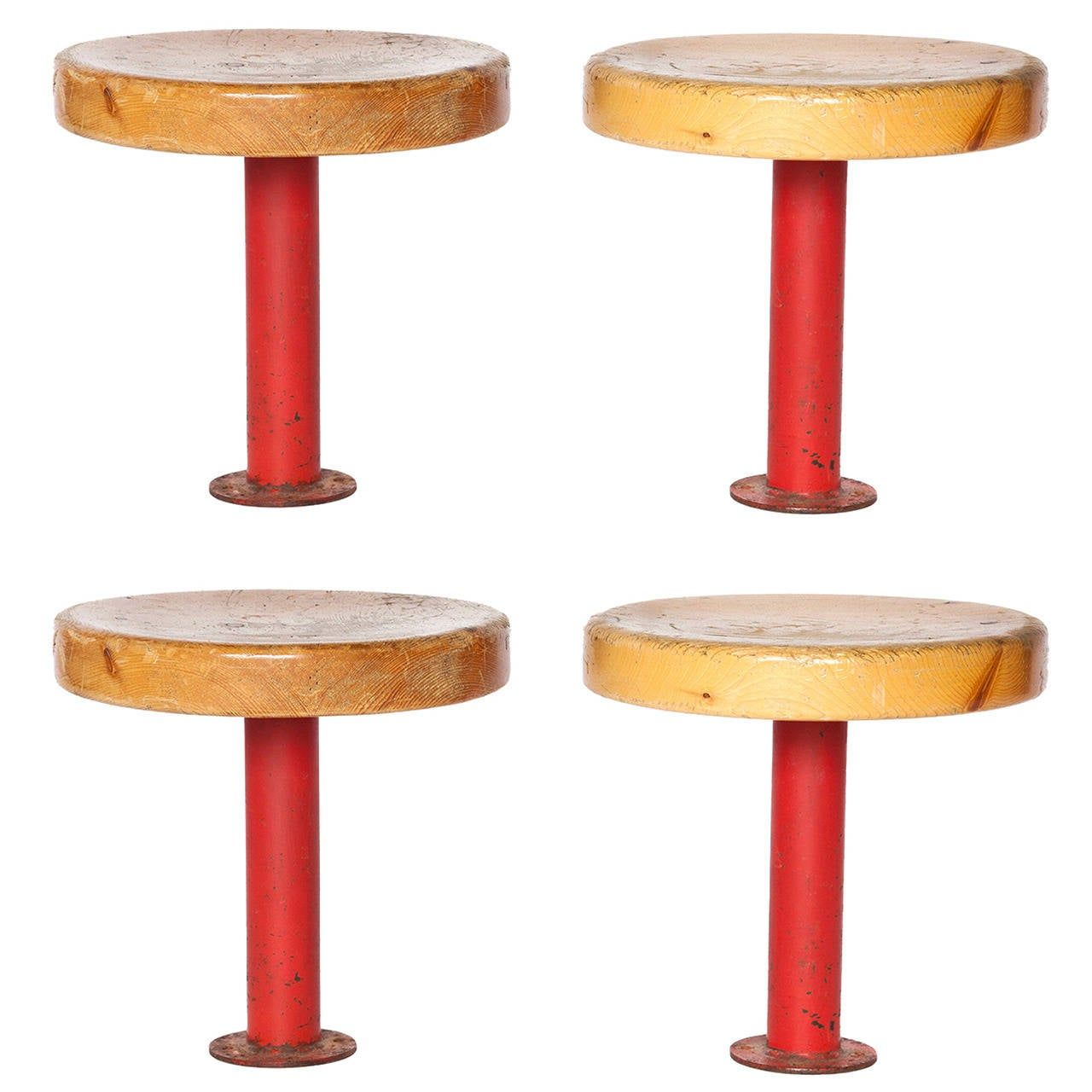 Pair of Kindergarten Stools from Les Arcs by Charlotte Perriand 1