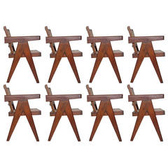 Exceptional Set of Teak Armchairs by Pierre Jeanneret
