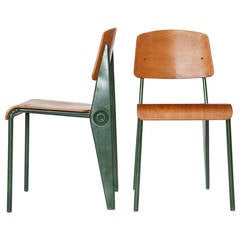 Pair of Rare Model No. 300 Demountable Chairs by Jean Prouvé