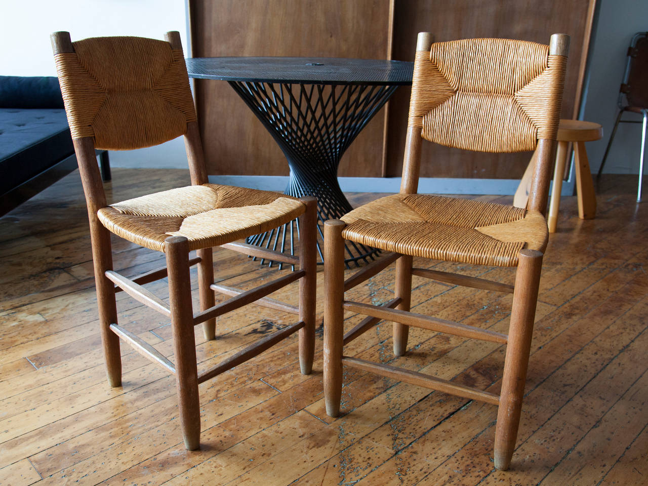 Charlotte Perriand Oak and Rush Side Chairs 2