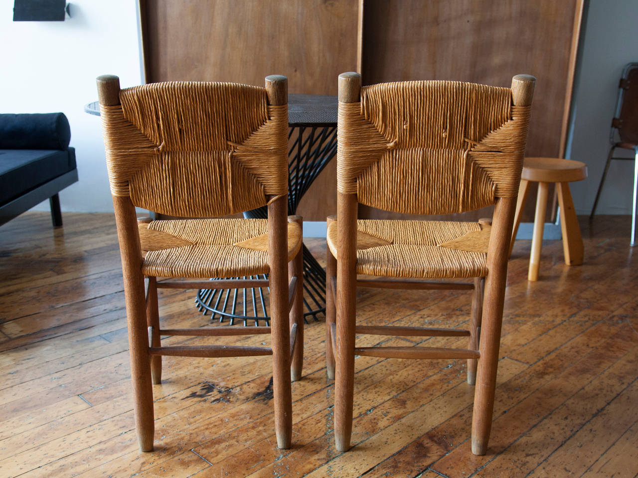 Modern Charlotte Perriand Oak and Rush Side Chairs For Sale