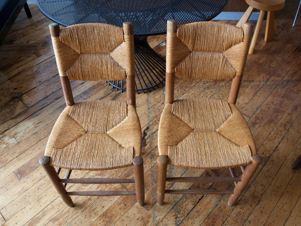 French Charlotte Perriand Oak and Rush Side Chairs For Sale