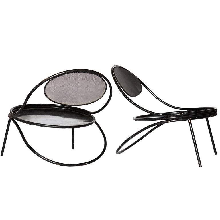 Mathieu Matégot Pair of Copacabana Lounge Chairs with Cushions