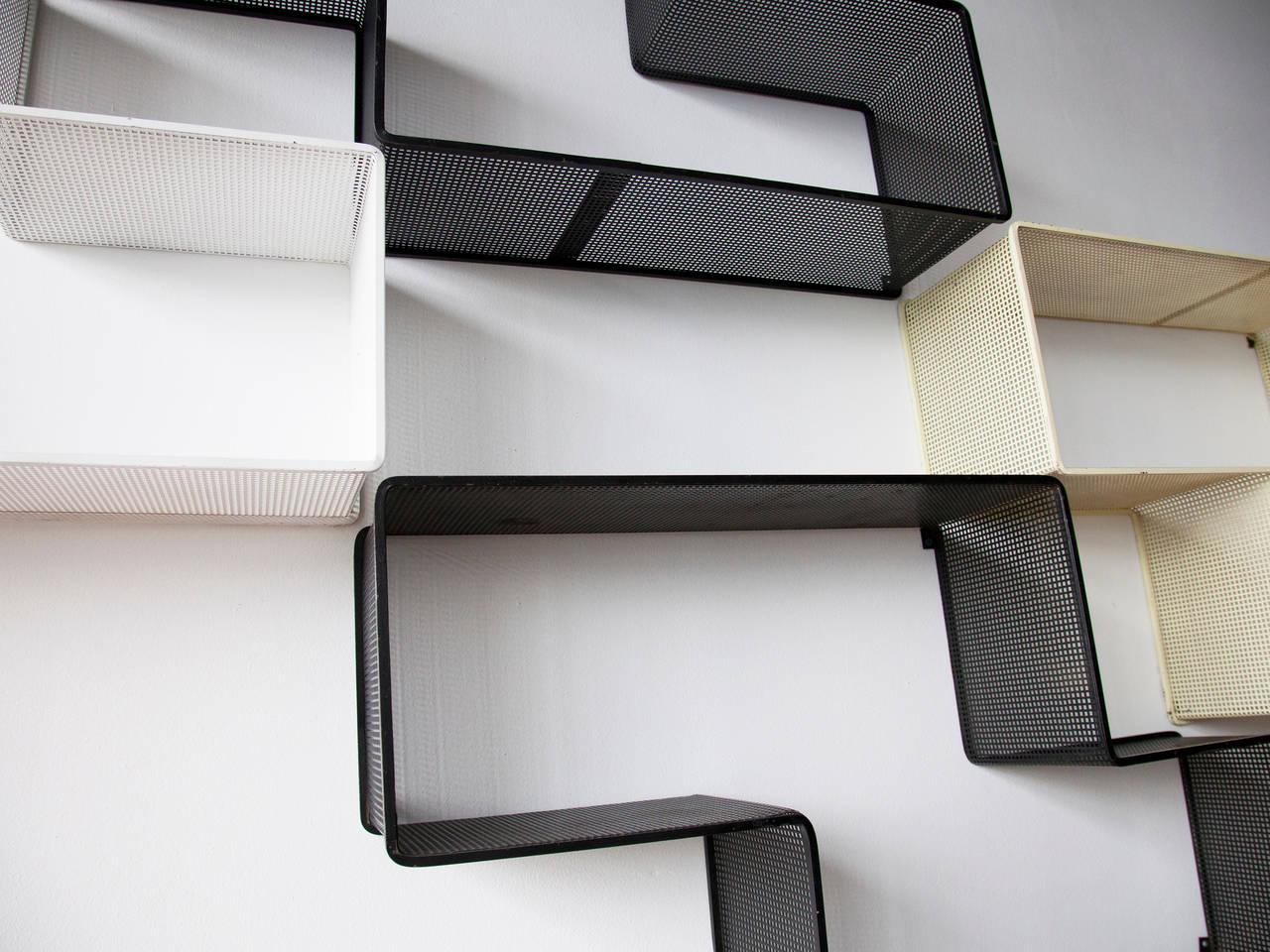 French Mathieu Matégot Set of Modular Dedal Shelves For Sale