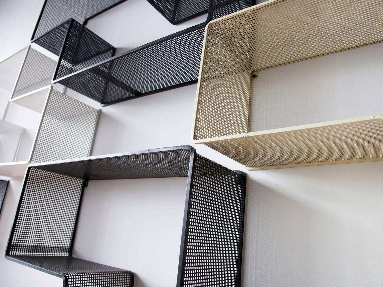 Mid-Century Modern Mathieu Matégot Set of Modular Dedal Shelves For Sale