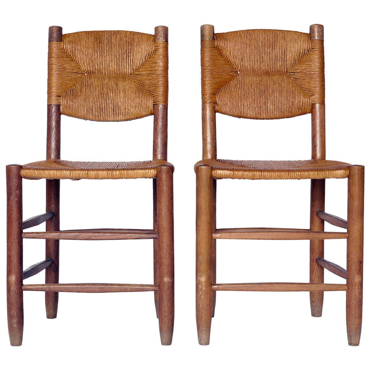 Charlotte Perriand Oak and Rush Side Chairs For Sale