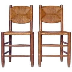 Charlotte Perriand Oak and Rush Side Chairs