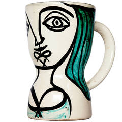 "Painted ""Femme Nichon"" Pitcher by Georges Jouve"