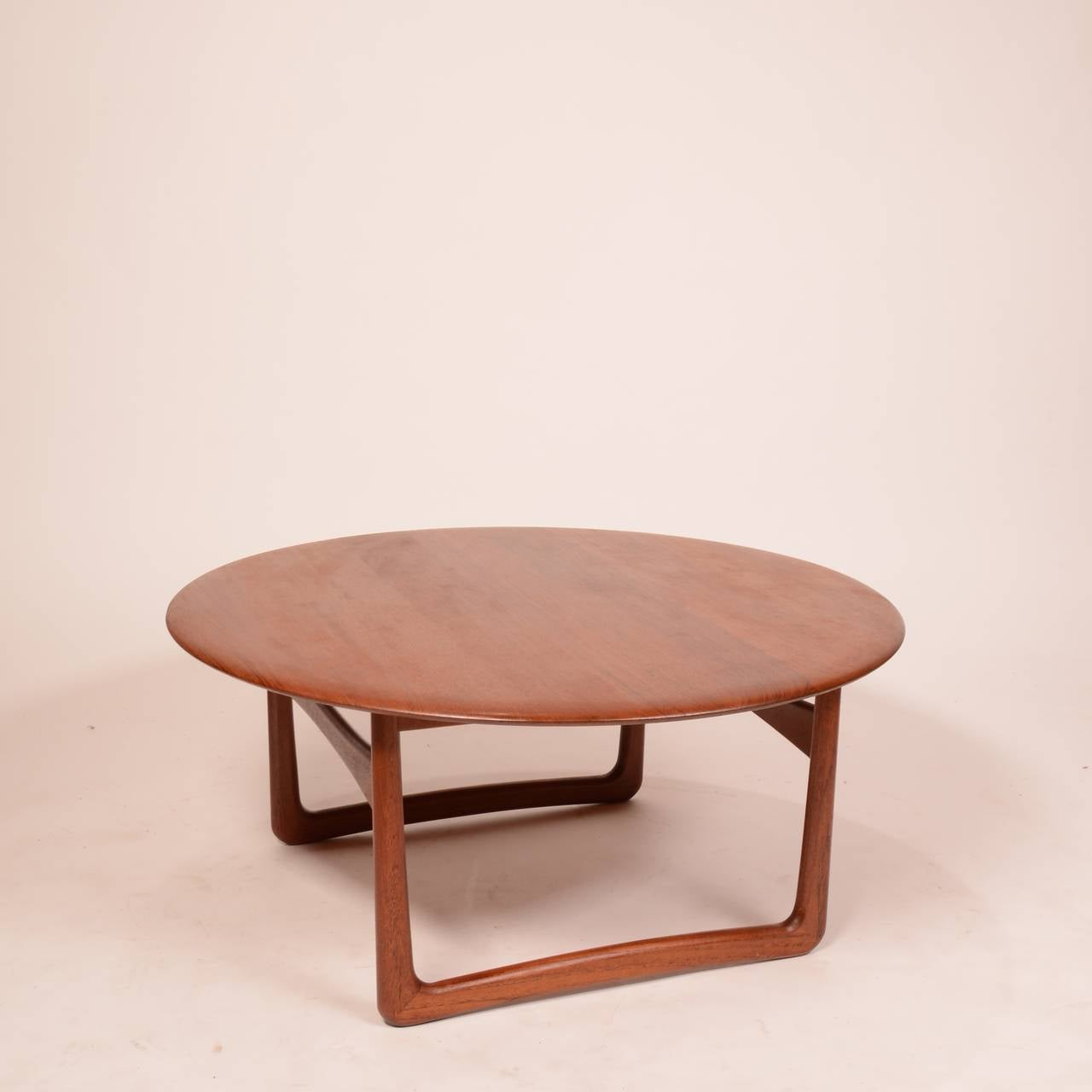 Solid Teak Danish Modern Round Coffee Table by Povl Dinesen for
