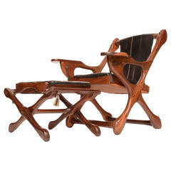 "Don Shoemaker Rosewood Sling ""Swinger"" Chair and Ottoman"