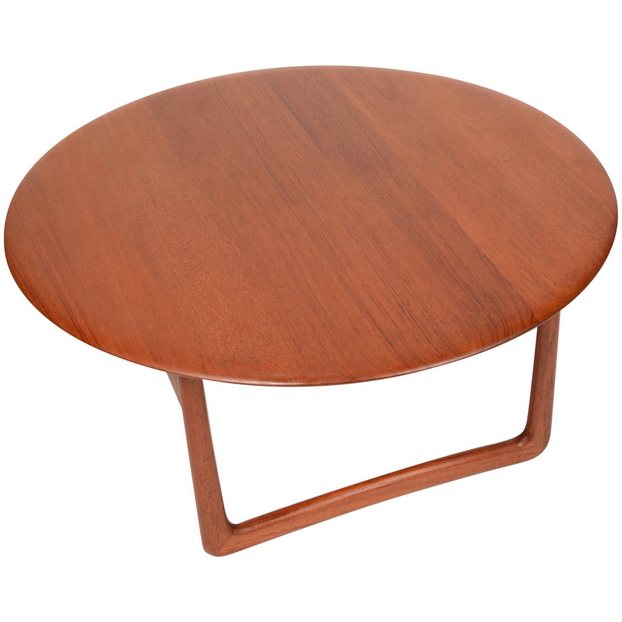 Solid teak danish modern round coffee table by povl dinesen for france and s n at 1stdibs Round coffee table modern