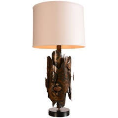 Tom Greene Style Brutalist Brass and Bronze Table Lamp