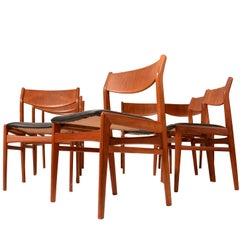Set of Eight Teak and Leather Dining Chairs by Folke Ohlsson for DUX