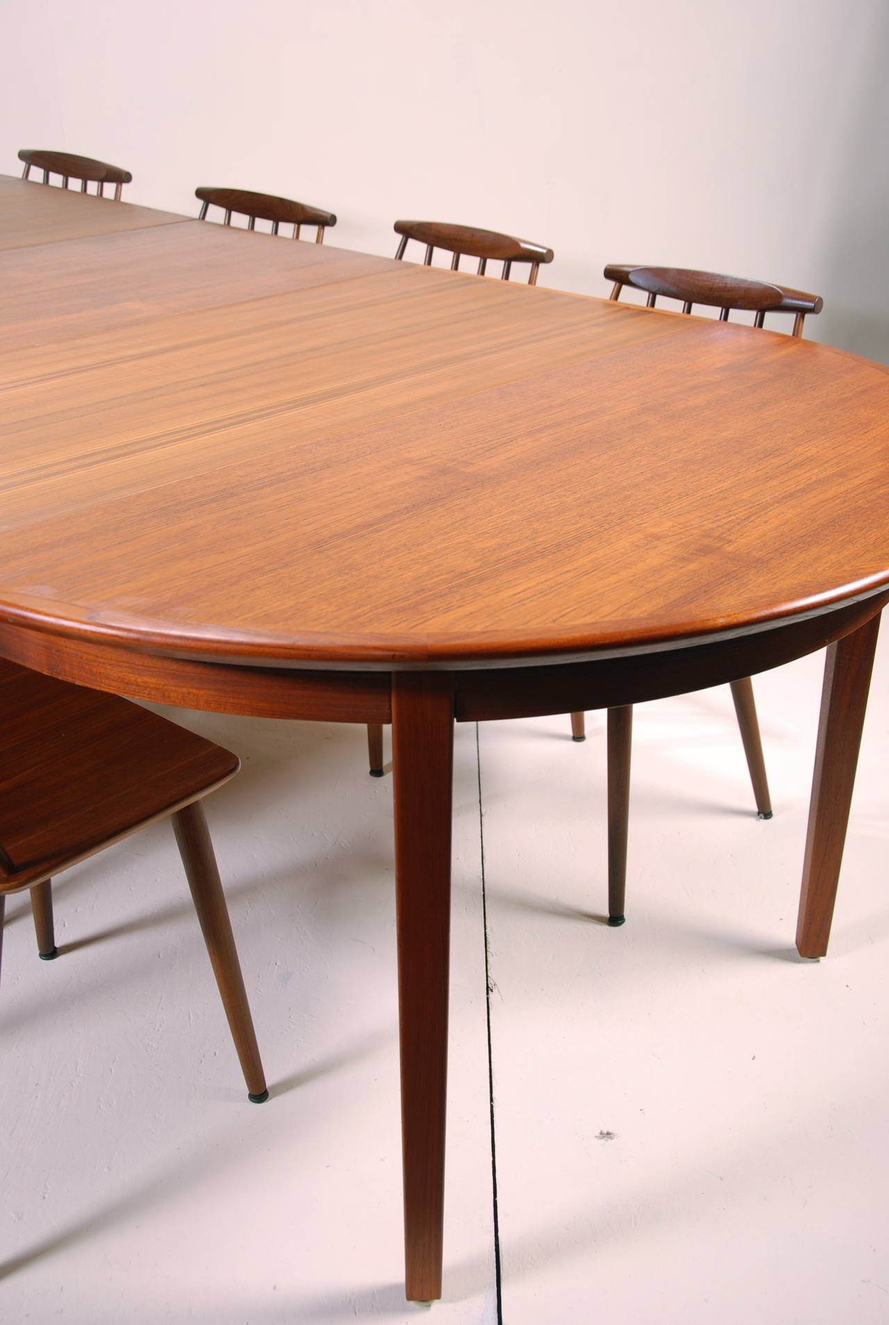 Large danish modern dining table in teak at 1stdibs for Danish modern dining room table