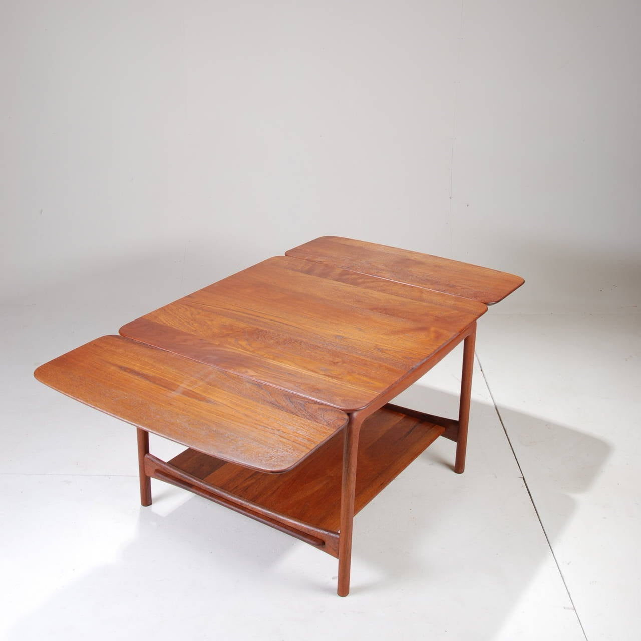 Solid Teak Drop Leaf Coffee Table By Peter Hvidt For John Stuart At 1stdibs