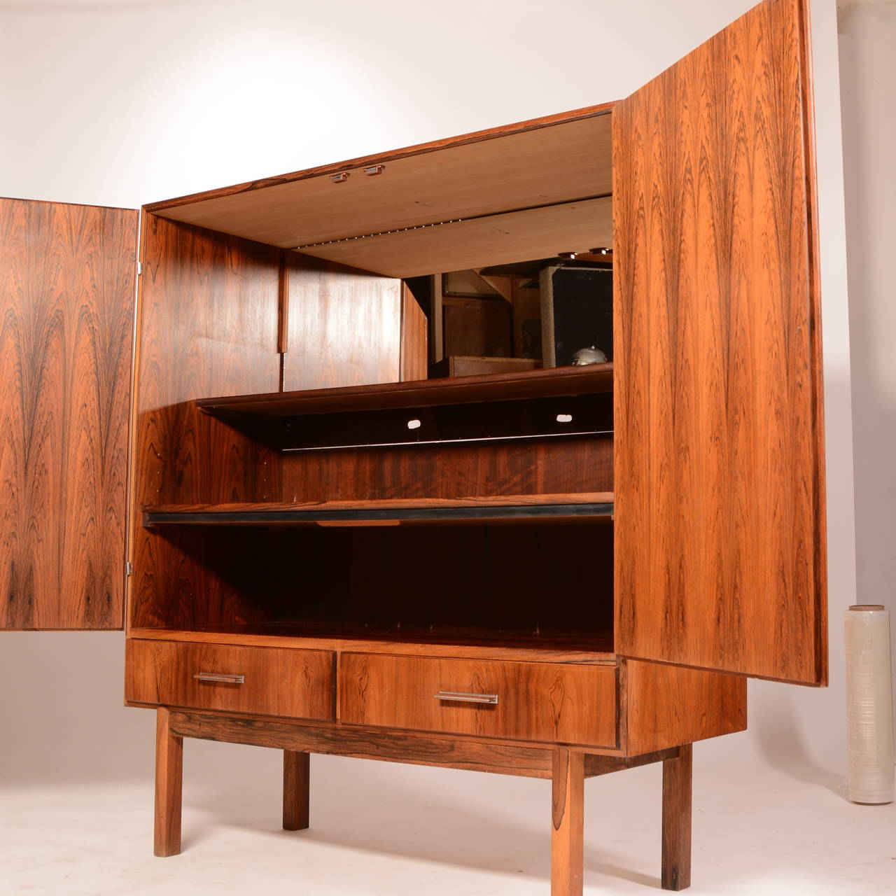 This Mid Century Danish Modern Rosewood Bar Cabinet Is In Good Vintage Condition It Includes