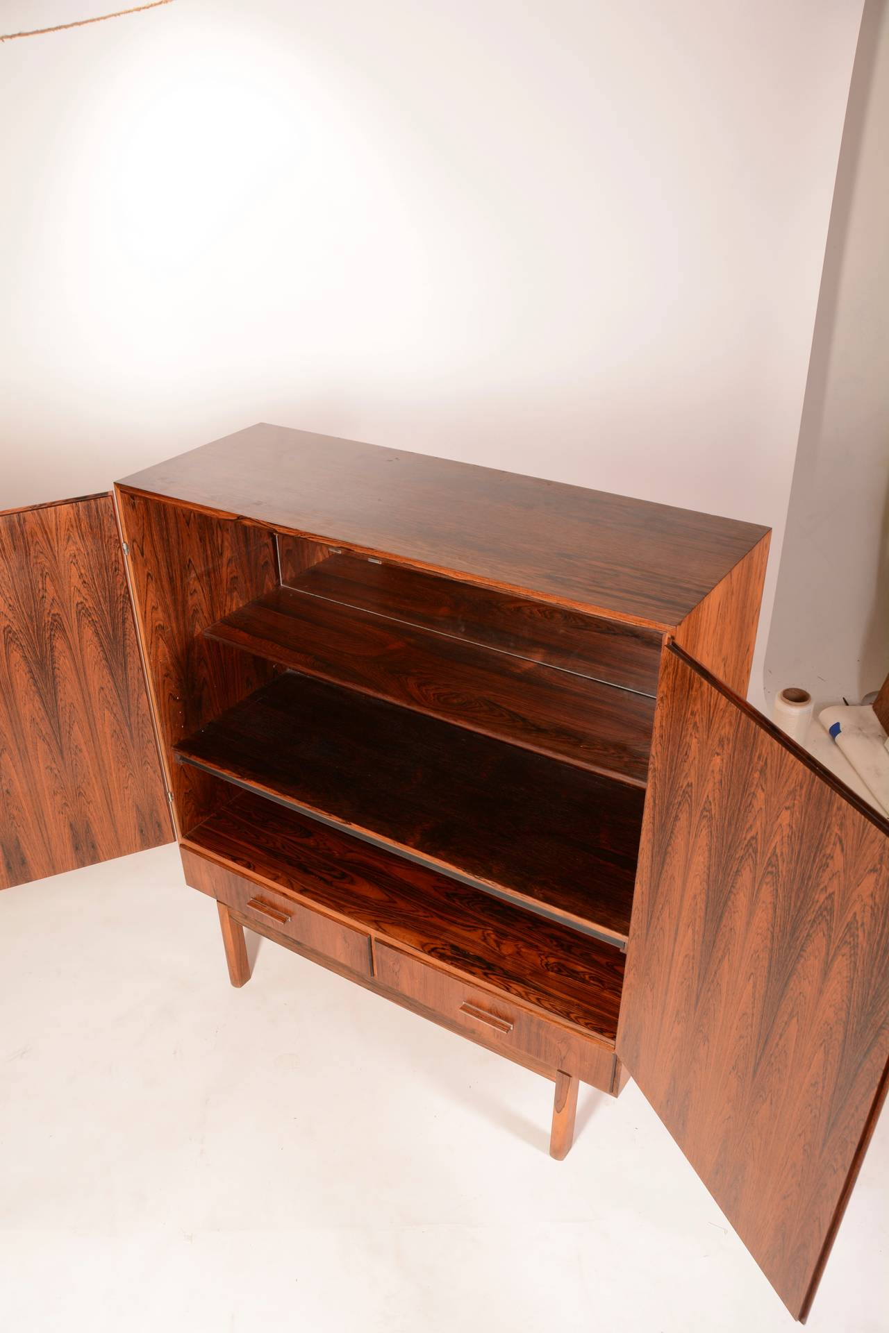 Pair of vintage danish rosewood and brushed steel side cabinets ref - Mid Century Modern Danish Rosewood Bar Cabinet 3