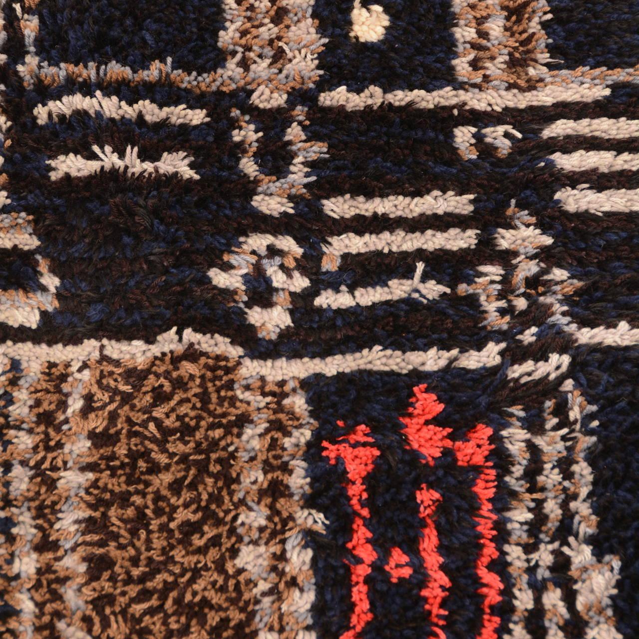 Danish Midcentury Scandinavian Modern Rya Wool Rug Wall Hanging For Sale