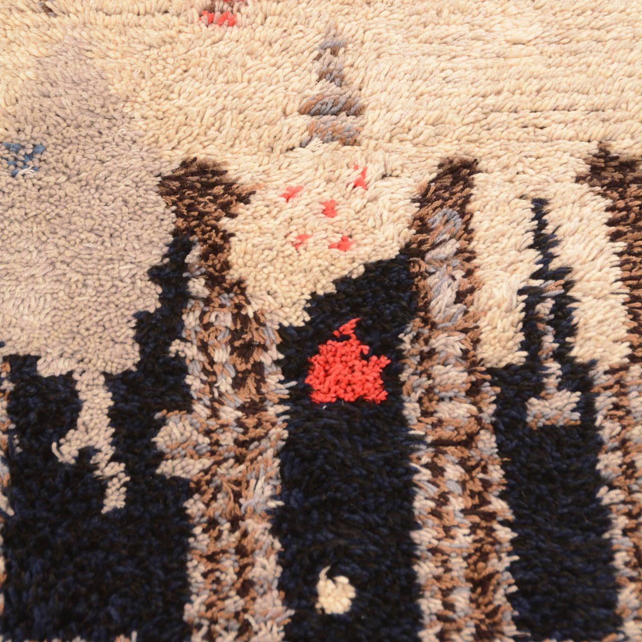 Midcentury Scandinavian Modern Rya Wool Rug Wall Hanging For Sale 1
