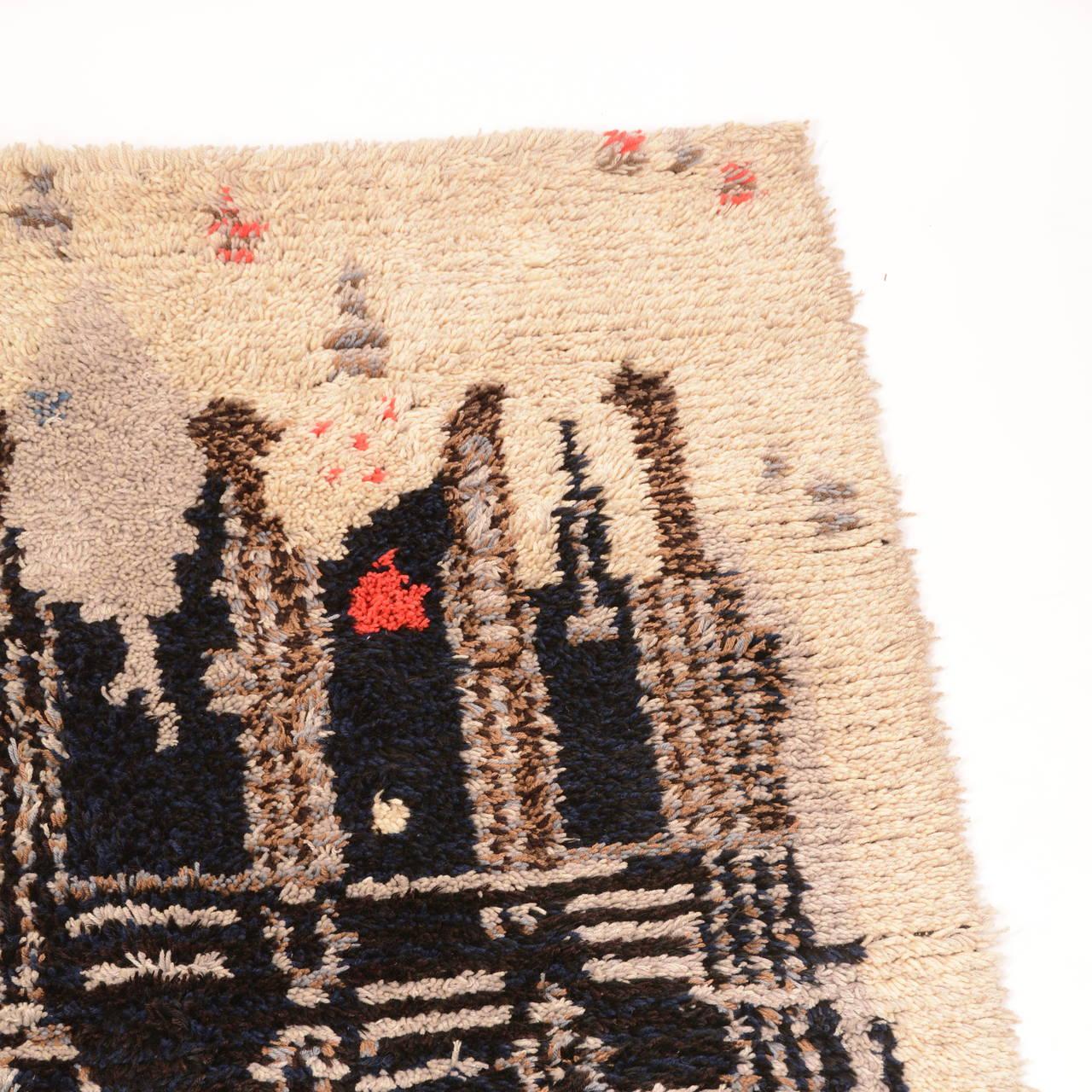 Mid-20th Century Midcentury Scandinavian Modern Rya Wool Rug Wall Hanging For Sale