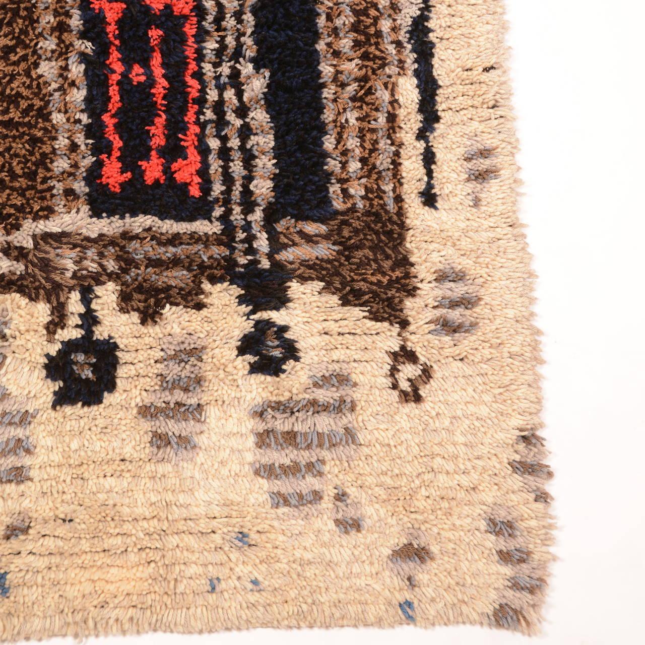 Modern Scandinavian Rug: Midcentury Scandinavian Modern Rya Wool Rug Wall Hanging