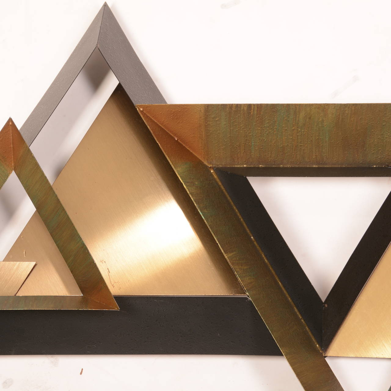 Brass Triangles Wall Sculpture by Curtis Jere For Sale