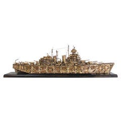 5' Long Brass and Steel Battleship Sculpture by Joe Venturini, 1983