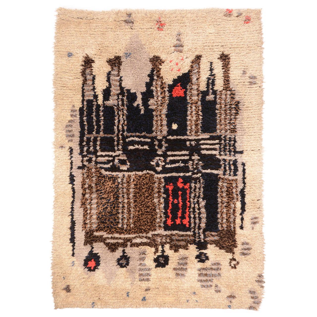 Midcentury Scandinavian Modern Rya Wool Rug Wall Hanging For Sale
