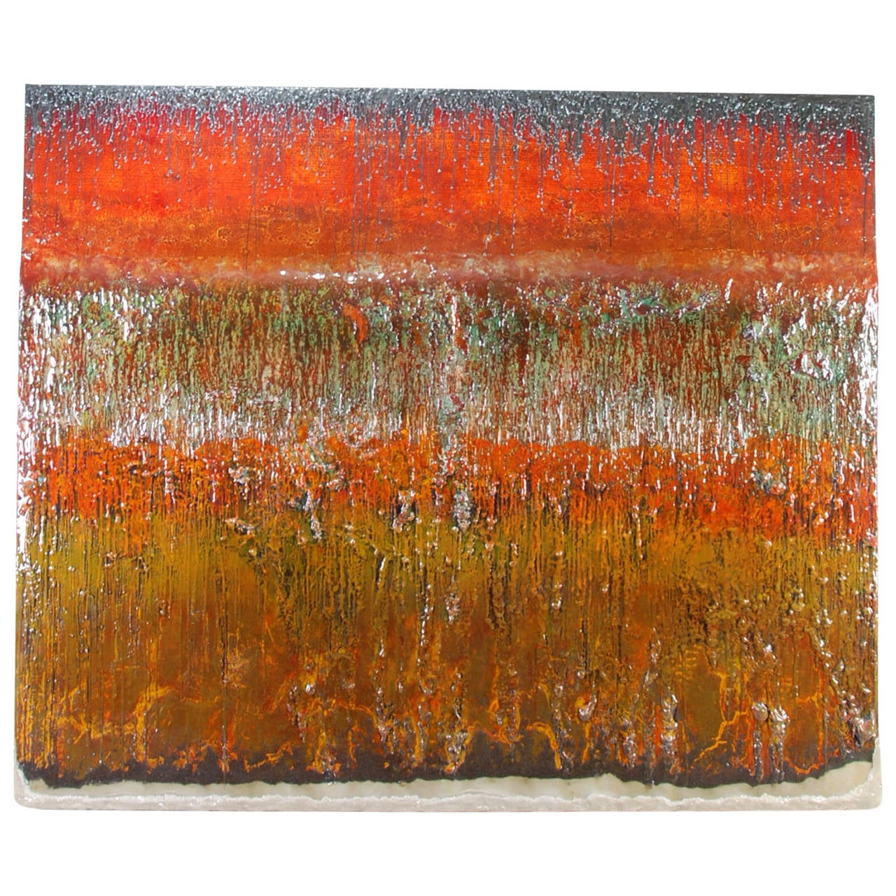 """Large Abstract Painting """"Sea Fire"""" by Drew Wood AKA Blakewood"""