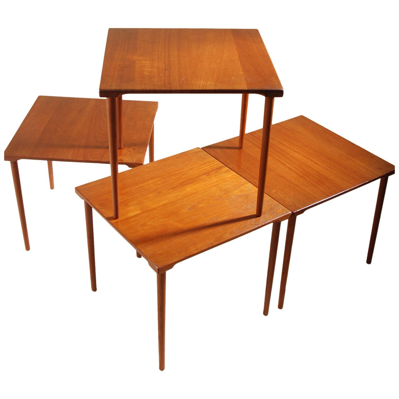 Four Stackable Peter Hvidt For John Stuart Danish Solid Teak End Tables 1