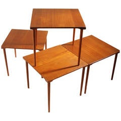 Four Stackable Peter Hvidt for John Stuart Danish Solid Teak End Tables