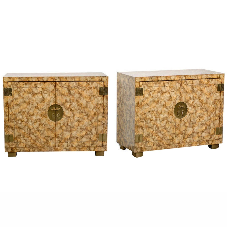 Pair of Vintage Henredon Faux Tortoiseshell Cabinets For Sale